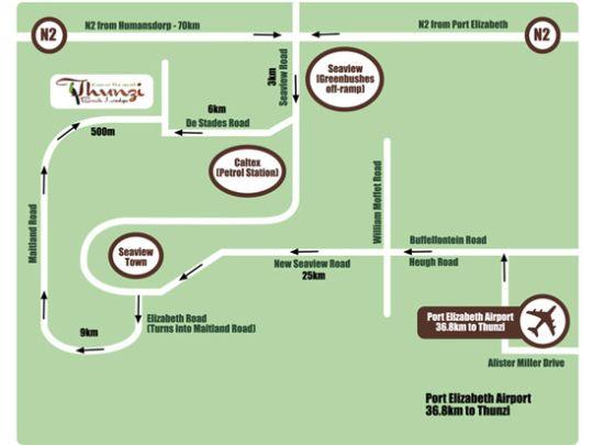 Map Thunzi Bush Lodge in Maitlands  Port Elizabeth  Cacadu (Sarah Baartman)  Eastern Cape  South Africa