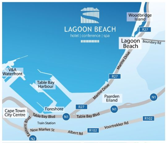 Map Lagoon Beach Hotel & Spa in Milnerton  Blaauwberg  Cape Town  Western Cape  South Africa