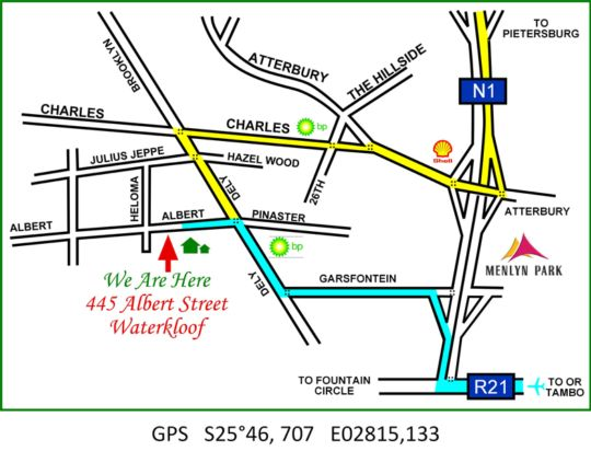 Map Waterkloof Guesthouse in Waterkloof  Pretoria East  Pretoria / Tshwane  Gauteng  South Africa