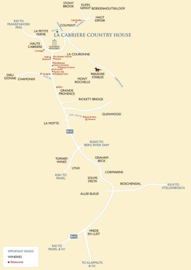 Map La Cabriere Country House in Franschhoek  Cape Winelands  Western Cape  South Africa