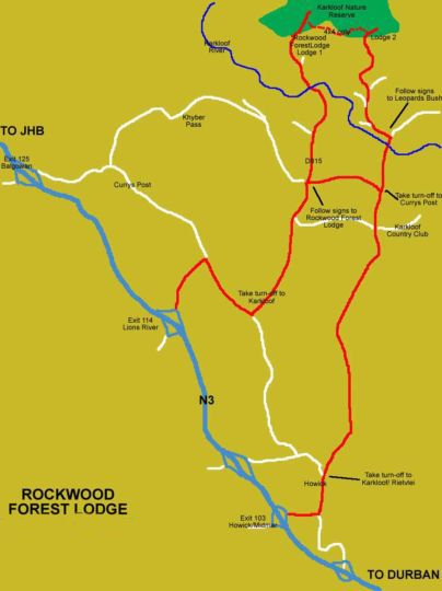 Map Rockwood Lodges in Howick  Midlands  KwaZulu Natal  South Africa