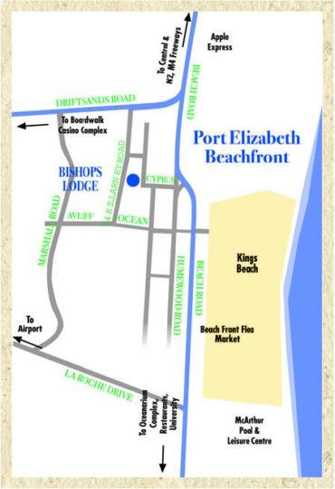 Map Bishops Inn Guest House in Humewood  Port Elizabeth  Cacadu (Sarah Baartman)  Eastern Cape  Afrique du Sud