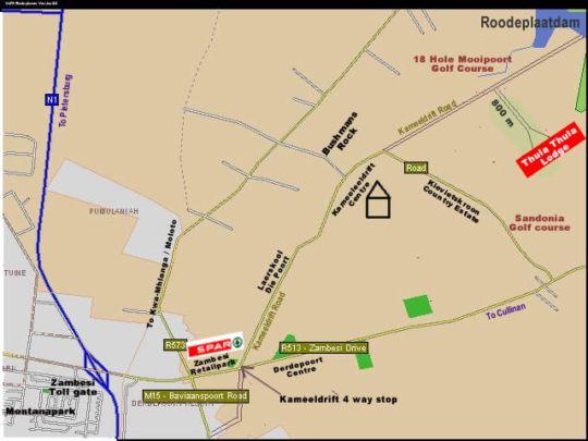 Map Thula Thula Lodge in Kameeldrift East  Pretoria East  Pretoria / Tshwane  Gauteng  South Africa