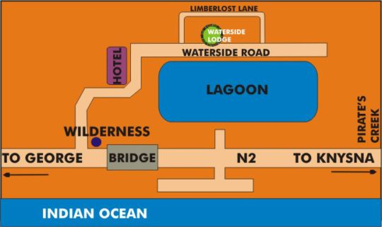 Map Waterside Lodge in Wilderness  Garden Route  Western Cape  South Africa