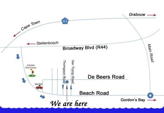 Map La Playa B&B in Strand  Helderberg  Western Cape  South Africa