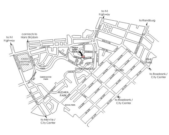 Map Idwala Boutique Hotel Johannesburg in Cresta  Northcliff/Rosebank  Johannesburg  Gauteng  South Africa