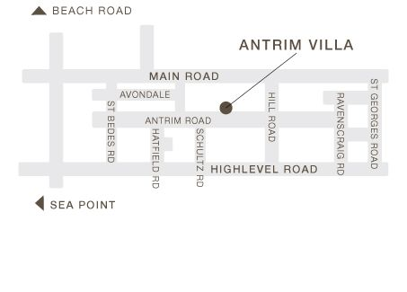 Map Antrim Villa in Three Anchor Bay  Atlantic Seaboard  Cape Town  Western Cape  South Africa