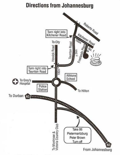 Map Duvet & Crumpets in Wembley  Pietermaritzburg  Midlands  KwaZulu Natal  Zuid-Afrika