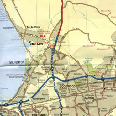 Map Cape Oasis Guesthouse in Table View  Blaauwberg  Kaapstad  Western Cape  Zuid-Afrika