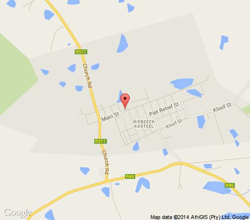 Map The Royal Hotel in Riebeek Kasteel  Cape Winelands  Western Cape  South Africa
