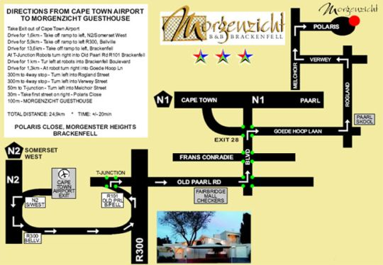 Map Morgenzicht B&B in Brackenfell  Northern Suburbs (CPT)  Cape Town  Western Cape  South Africa