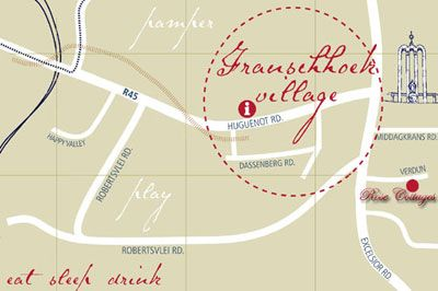 Map Rose Cottage Self Catering in Franschhoek  Cape Winelands  Western Cape  South Africa
