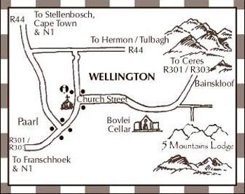 Map 5 Mountains Lodge in Wellington  Cape Winelands  Western Cape  South Africa
