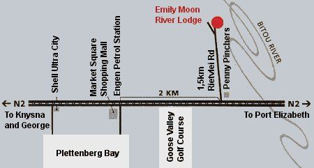 Map Emily Moon River lodge in Plettenberg Bay  Garden Route  Western Cape  South Africa