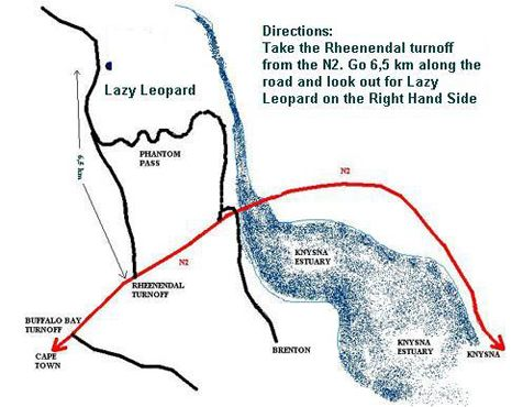Map Lazy Leopard Forest Retreat in Knysna  Garden Route  Western Cape  South Africa