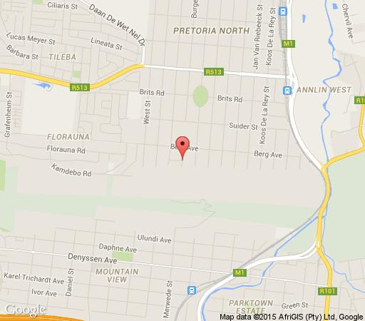 Map Mirisa Guest House in Pretoria North Suburb  Pretoria North  Pretoria / Tshwane  Gauteng  Afrique du Sud