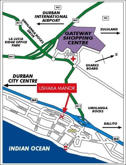 Map uShaka Manor Guest House in Umhlanga Rocks  Umhlanga  Northern Suburbs (DBN)  Durban and Surrounds  KwaZulu Natal  South Africa