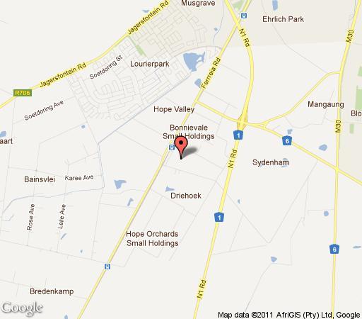 Map Emtonjeni Country Lodge in Bloemfontein  Mangaung  Free State  South Africa