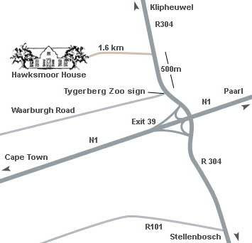 Map Hawksmoor House in Stellenbosch  Cape Winelands  Western Cape  South Africa