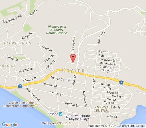 Map Aestas Bed & Breakfast in Knysna  Garden Route  Western Cape  South Africa