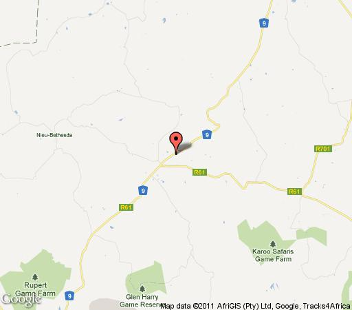 Map Country Road Guesthouse in Graaff-Reinet  Cacadu (Sarah Baartman)  Eastern Cape  South Africa
