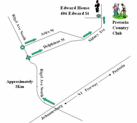 Map Edward House in Waterkloof  Pretoria East  Pretoria / Tshwane  Gauteng  South Africa