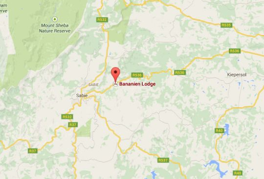 Map Bananien Lodge in Sabie  The Panorama  Mpumalanga  South Africa