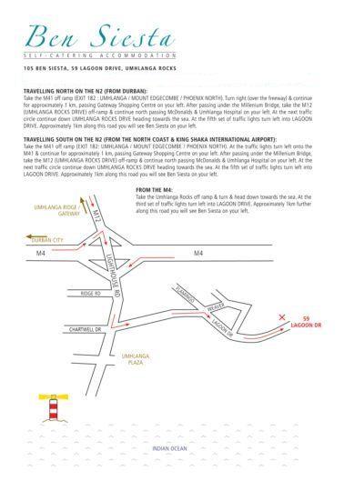 Map Ben Siesta in Umhlanga Rocks  Umhlanga  Northern Suburbs (DBN)  Durban and Surrounds  KwaZulu Natal  South Africa