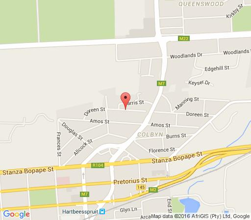 Map Carin\'s Guest House in Colbyn  Pretoria Central  Pretoria / Tshwane  Gauteng  South Africa