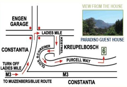 Map Paradiso Guesthouse  in Constantia (CPT)  Southern Suburbs (CPT)  Cape Town  Western Cape  South Africa