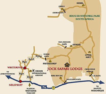 Map Jock Safari Lodge in Malelane  Kruger National Park (MP)  Mpumalanga  South Africa