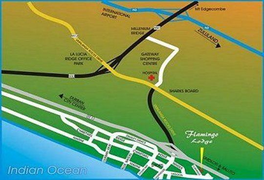 Map Flamingo Lodge in Umhlanga Rocks  Umhlanga  Northern Suburbs (DBN)  Durban and Surrounds  KwaZulu Natal  South Africa