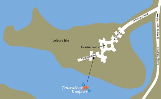 Map Founders Keepers - Leisure Isle in Knysna  Garden Route  Western Cape  South Africa