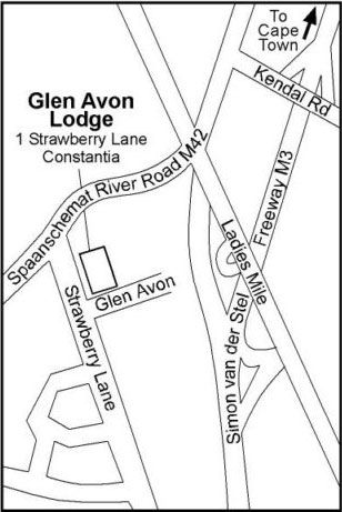 Map Glen Avon Lodge in Constantia (CPT)  Southern Suburbs (CPT)  Cape Town  Western Cape  South Africa