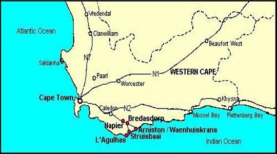 Map Gunner\'s Lodge & Mess in Napier  Overberg  Western Cape  South Africa