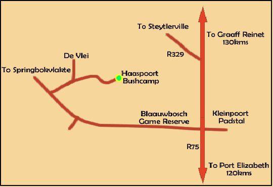 Map Haaspoort Bushcamp in Kleinpoort  Cacadu (Sarah Baartman)  Eastern Cape  South Africa