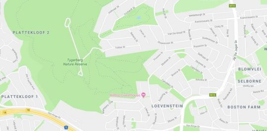 Map Hilltop Guesthouse in Bellville  Northern Suburbs (CPT)  Cape Town  Western Cape  South Africa