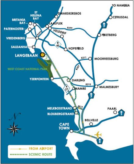 Map The Farmhouse Hotel in Langebaan  West Coast (WC)  Western Cape  South Africa