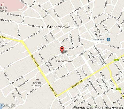 Map Hotel Victoria Mews in Grahamstown  Cacadu  Eastern Cape  South Africa