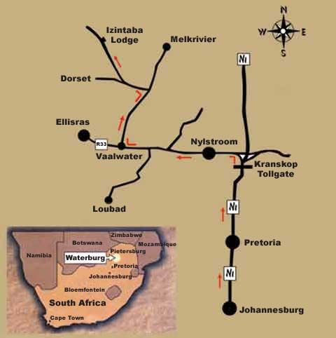 Map Izintaba Lodge in Vaalwater  Waterberg  Bushveld  Limpopo  South Africa