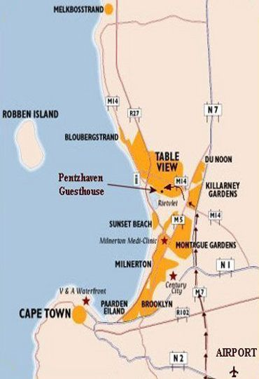 Map Pentzhaven Guesthouse in Table View  Blaauwberg  Cape Town  Western Cape  South Africa