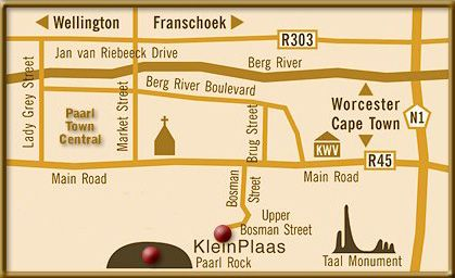 Map Kleinplaas Country House in Paarl  Cape Winelands  Western Cape  South Africa