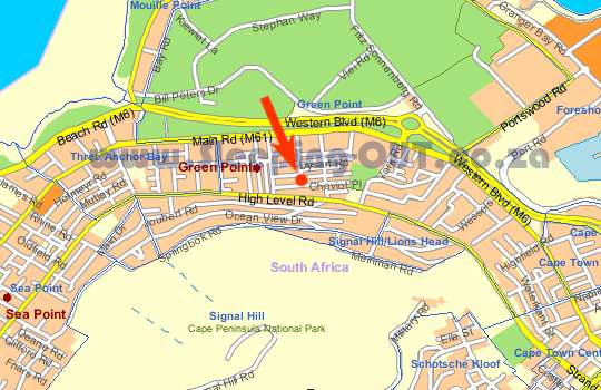 Map Cheviot Place Guest House in Green Point  Atlantic Seaboard  Cape Town  Western Cape  South Africa