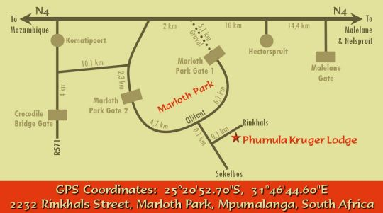 Map Phumula Kruger Lodge and Safaris in Marloth Park  Kruger National Park (MP)  Mpumalanga  South Africa