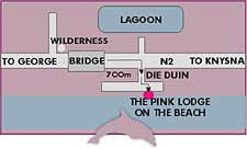 Map Pink Lodge in Wilderness  Garden Route  Western Cape  South Africa
