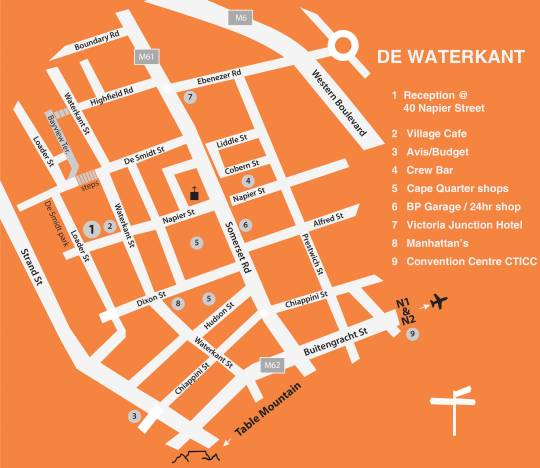 Map De Waterkant Cottages in Cape Town CBD  City Bowl  Cape Town  Western Cape  South Africa
