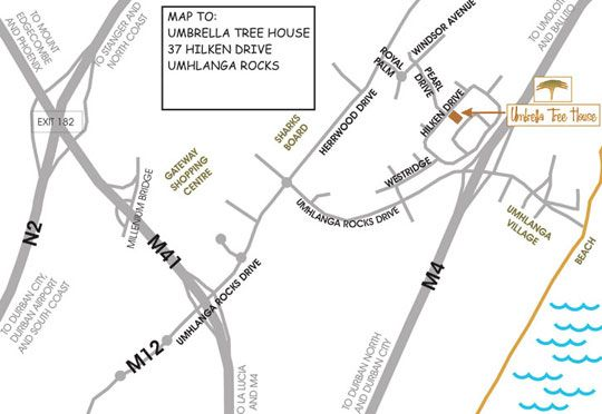 Map Umbrella Tree House in Umhlanga Rocks  Umhlanga  Northern Suburbs (DBN)  Durban and Surrounds  KwaZulu Natal  South Africa