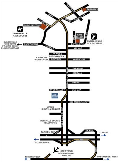 Map Cape Pillars Boutique Hotel in Durbanville  Northern Suburbs (CPT)  Cape Town  Western Cape  South Africa