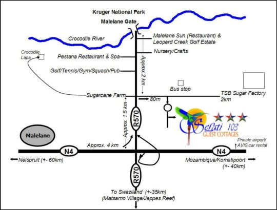 Map Selati 103 Guest Cottages in Malelane  Kruger National Park (MP)  Mpumalanga  South Africa