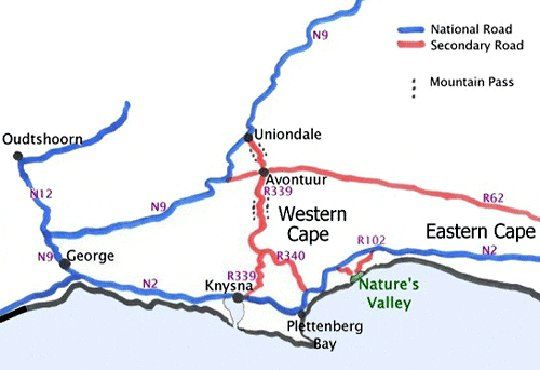 Map Nectar Cottage in Nature's Valley  Garden Route  Western Cape  South Africa